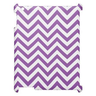 Purple and White Zigzag Stripes Chevron Pattern iPad Cover