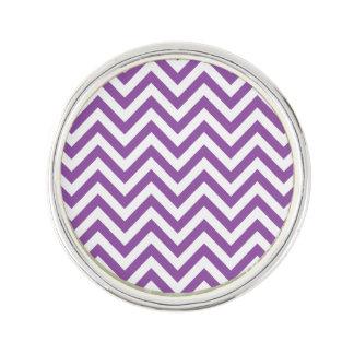 Purple and White Zigzag Stripes Chevron Pattern Lapel Pin