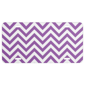 Purple and White Zigzag Stripes Chevron Pattern License Plate