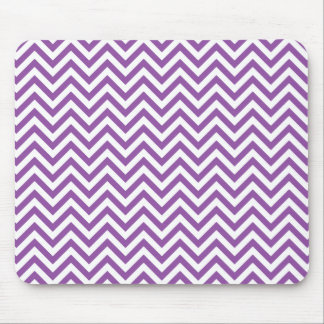 Purple and White Zigzag Stripes Chevron Pattern Mouse Pad