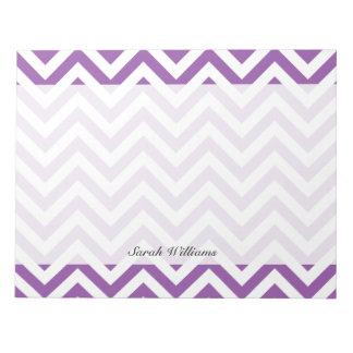 Purple and White Zigzag Stripes Chevron Pattern Notepad