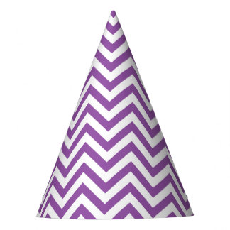 Purple and White Zigzag Stripes Chevron Pattern Party Hat
