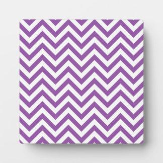 Purple and White Zigzag Stripes Chevron Pattern Plaque