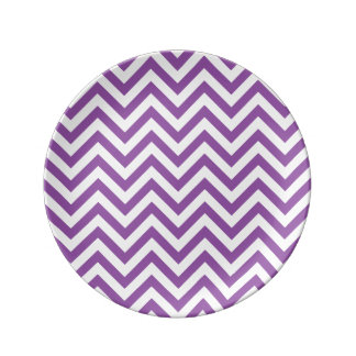Purple and White Zigzag Stripes Chevron Pattern Plate