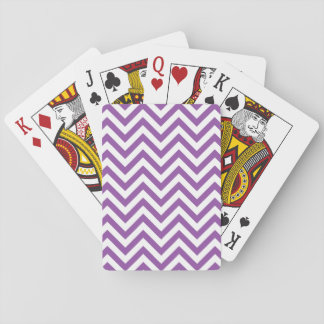 Purple and White Zigzag Stripes Chevron Pattern Playing Cards