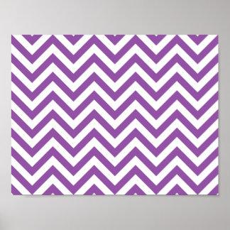 Purple and White Zigzag Stripes Chevron Pattern Poster