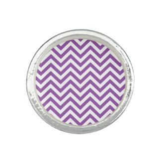 Purple and White Zigzag Stripes Chevron Pattern Rings