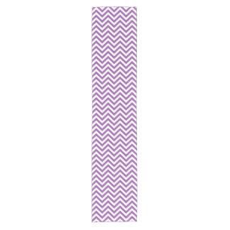 Purple and White Zigzag Stripes Chevron Pattern Short Table Runner