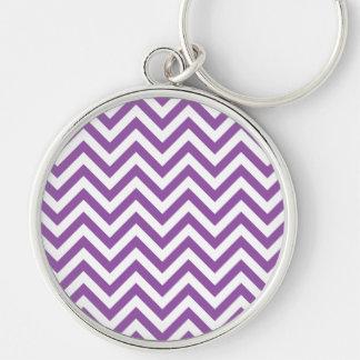 Purple and White Zigzag Stripes Chevron Pattern Silver-Colored Round Keychain