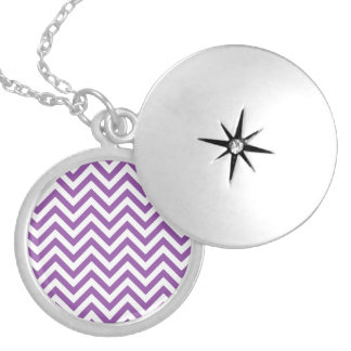 Purple and White Zigzag Stripes Chevron Pattern Silver Plated Necklace