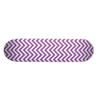 Purple and White Zigzag Stripes Chevron Pattern Skate Boards