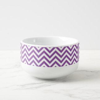 Purple and White Zigzag Stripes Chevron Pattern Soup Mug