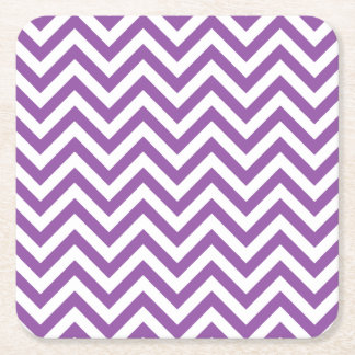 Purple and White Zigzag Stripes Chevron Pattern Square Paper Coaster