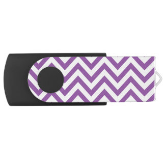Purple and White Zigzag Stripes Chevron Pattern Swivel USB 2.0 Flash Drive
