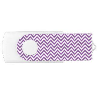 Purple and White Zigzag Stripes Chevron Pattern Swivel USB 3.0 Flash Drive
