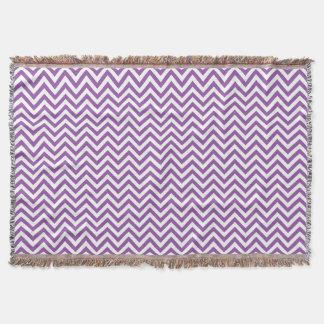 Purple and White Zigzag Stripes Chevron Pattern Throw Blanket