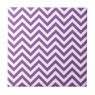 Purple and White Zigzag Stripes Chevron Pattern Tile