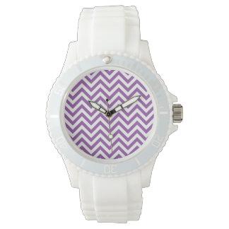 Purple and White Zigzag Stripes Chevron Pattern Watch