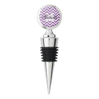 Purple and White Zigzag Stripes Chevron Pattern Wine Stopper
