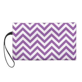 Purple and White Zigzag Stripes Chevron Pattern Wristlet