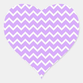 Purple and White Zigzag Stripes. Heart Sticker