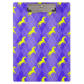 Purple and Yellow Argyle, Horse, Equestrian Clipboard