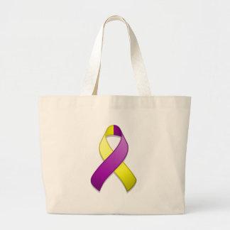 Purple and Yellow Awareness Ribbon Bag
