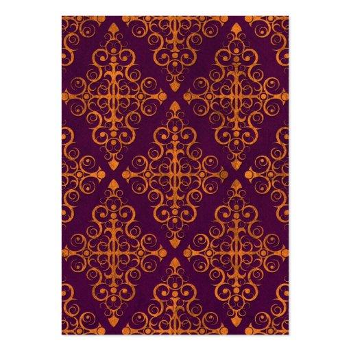 Purple and Yellow Diamond Swirls Pattern Business Cards