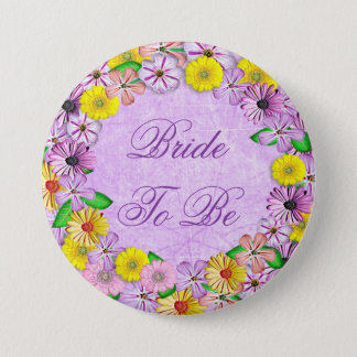 """Purple and Yellow Floral """"Bride to be"""" Button"""
