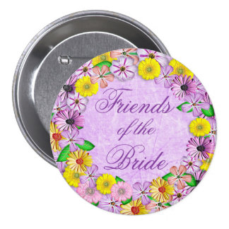 Purple and Yellow Floral Friends of the Bride Pin