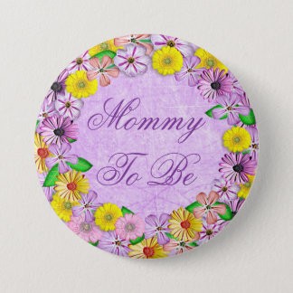 """Purple and Yellow Floral """"Mom to be"""" Button"""