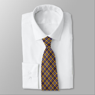 Purple and Yellow Gold Sporty Plaid Tie