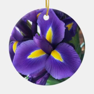 Purple and yellow iris round ceramic ornament