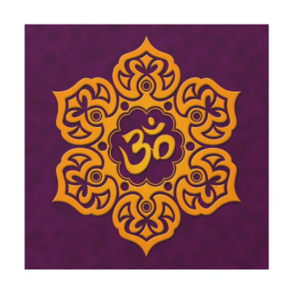 Purple and Yellow Lotus Flower Om Wood Canvases