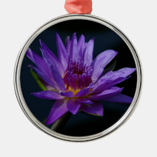 Purple and Yellow Lotus Waterlily Flower Metal Ornament
