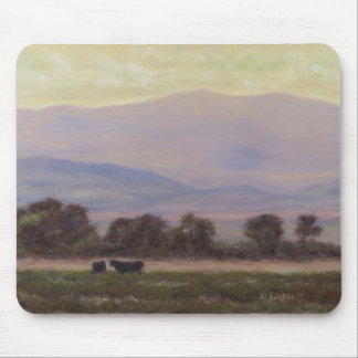 Purple and Yellow Mountains with Cows Mousepad