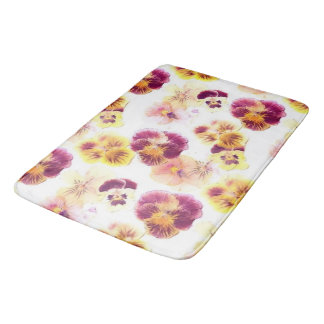 Purple and Yellow Pansy Bathroom Mat