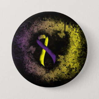 Purple and Yellow Ribbon Grunge Heart 3 Inch Round Button