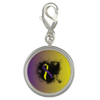 Purple and Yellow Ribbon Grunge Heart Charm