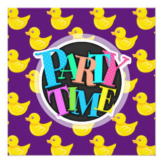 Purple and Yellow Rubber Duck Ducky Custom Invite