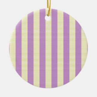 Purple and yellow stripes pattern round ceramic ornament