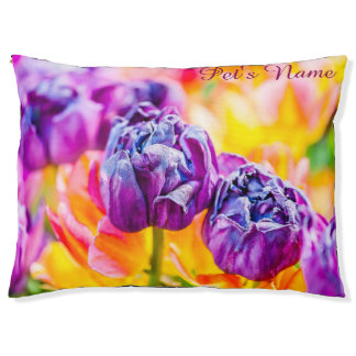 Purple and yellow tulips customizable pet bed