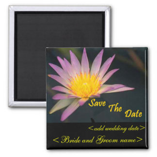 Purple And Yellow Water Flower Square Magnet