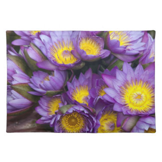 Purple and yellow water lilies placemat