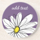 Purple and Yellow Whimsical Daisy Custom Text Coaster
