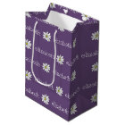 Purple and Yellow Whimsical Daisy Custom Text Medium Gift Bag