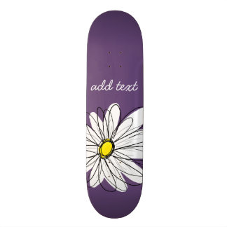 Purple and Yellow Whimsical Daisy Custom Text Skateboard