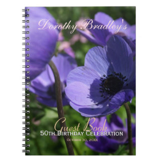 Purple Anemone 50th Birthday Party Guest Book