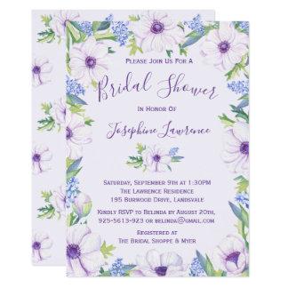 Purple Anemone Hyacinth Spring Bridal Shower Card