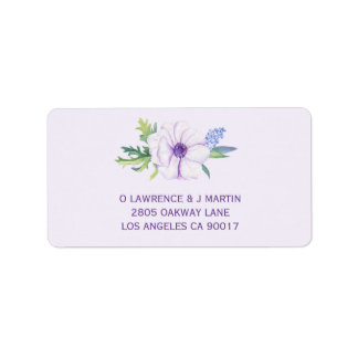 Purple Anemone & Hyacinth Spring Floral Label